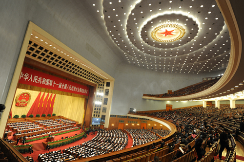 The Fourth Session of the National People's Congress held its third Plenary Meeting on March 11 at the Great Hall of the People in Beijing. At the meeting President of the Supreme People's Court (SPC) Wang Shengjun and President of the Supreme People's Procuratorate Cao Jianming delivered work reports respectively to the NPC's Fourth Session. [Women of China/Fan Wenjun]