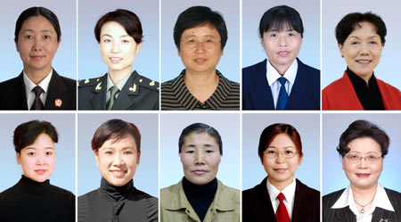 Line one from L to R Chen Yanping, He Min, Zhao Xia, Yang Yuling, Hou Fangfang.