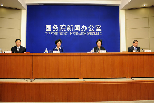 The Information Office of the State Council hosts a press conference to release the major data on the Third Survey on Chinese Women's Social Status today in Beijing. [Women of China / Zhang Ping]