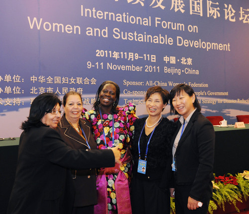 Leaders and guests at the opening ceremony of the International Forum on Women and Sustainable Development. [Women of China/Fan Wenjun]