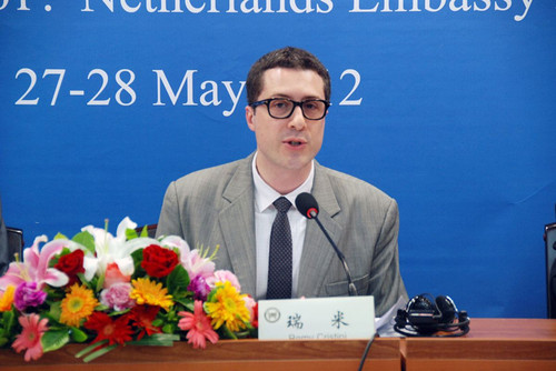 Remy Cristini, second secretary of the Dutch embassy, speaks at the conference. [china.nlembassy.org]