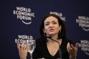 Sheryl Sandberg, chief operating officer of Facebook Inc., speaks during a session on day two of the World Economic Forum (WEF) in Davos, Switzerland, on Jan. 26, 2012. [time.com]