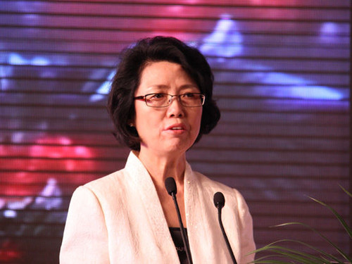 Secretary General of the China Women's Development Foundation Qin Guoying gives a speech at the opening ceremony. [Sina]