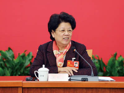 Chen Zhili attends a panel discussion held by southeast China's Fujian delegation to discuss the report delivered by General Secretary of the CPC Central Committee Hu Jintao at the opening of the 18th CPC National Congress. [china-woman.com]