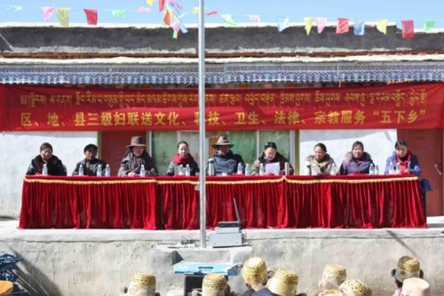 Representatives from the Tibetan Women's Federation visit Changlong Village in Gangba County, western China's Tibet Autonomous Region, on February 3, 2013. [Tibetan Women's Federation / Zhang Hongping]