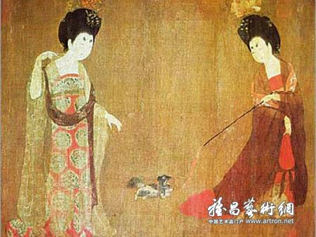The Tang Dynasty was one of the most magnificent periods in China's feudal history. Artists paid close attention to the richly colorful society, and were especially interested in displaying the idle and carefree life of aristocratic women. [news.artron.net]
