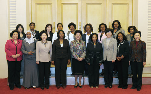 The Ethiopian women's delegation and leaders from the ACWF and Beijing Women's Federation pose for a group photo. [Women of China/Fan Wenjun]