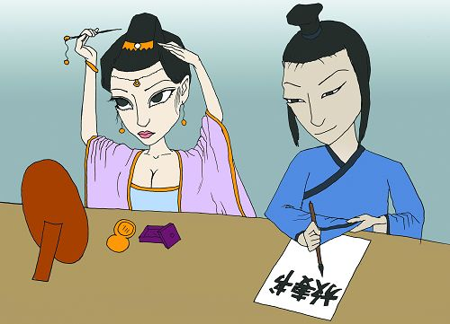 A couple in ancient China draws up their divorce agreement. [xsnet.cn/Zhang Pei]