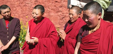 The All-China Women's Federation (ACWF) made a return visit on July 7-10, 2013, to the Tibetan nuns in northwest China's Qinghai Province who had joined a training course held by the ACWF in Beijing. [lvtu8.com]