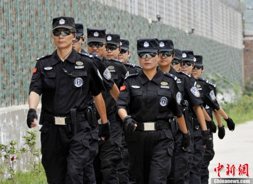 female police officers guard prison in sw china all
