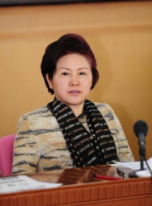 Vice President and Member of the Secretariat of the All-China Women's Federation (ACWF) Meng Xiaosi at a meeting in Beijing on March 7, 2014 [Women of China/Fan Wenjun]