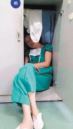 Photo Of Female Doctor Napping In Closet After Surgery Goes Viral
