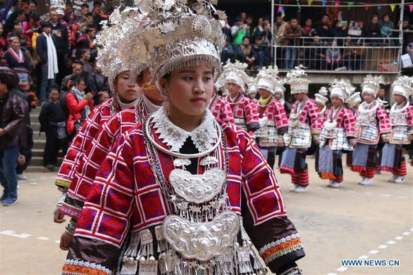 Miao Ethnic People Dance to Mark Spring Festival in Guizhou