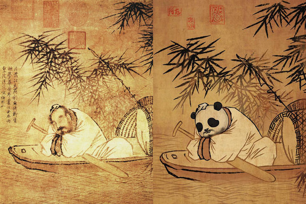 The Panda Shaking up Famous Paintings Goes Viral Online