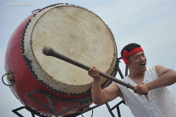 Drumers Practise Intangible Heritage Music in N China