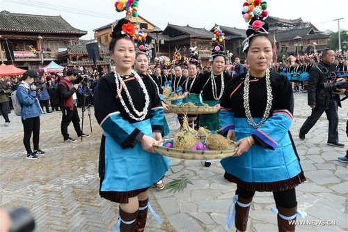 People of Dong Ethnic Group Celebrate Sama Festival in SW China