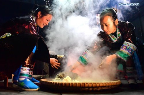 Women of Miao Ethnic Group Make Traditional Festive Wine