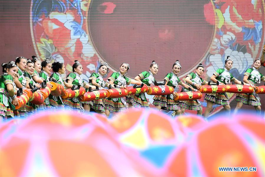 People Perform to Welcome 'San Yue San' Festival in S China