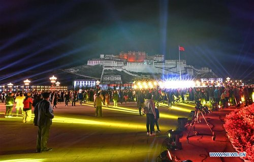 Light Show 'I Love China' Staged in Front of Potala Palace in Lhasa