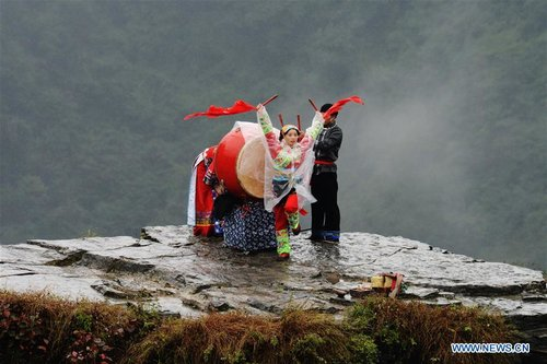 Drum Dance of Miao Ethnic Group Staged in C China's Hunan