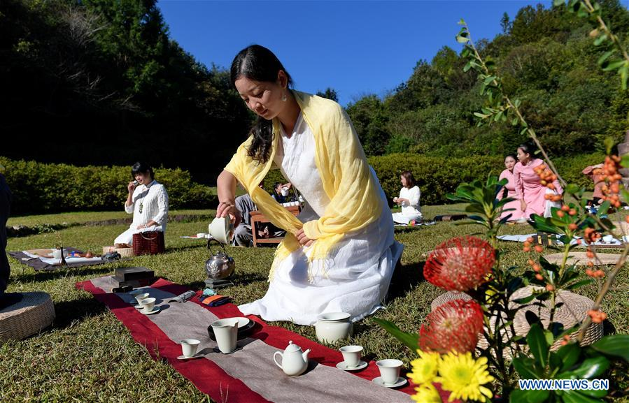 Tea Lovers Perform Tea Ceremony outdoors in Wuyishan, SE China