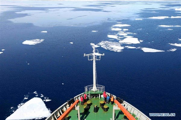 c3f36652d21 China's research icebreaker Xuelong, or Snow Dragon, sails at the Prydz Bay  in Antarctica, Nov. 29, 2018. Xuelong, carrying a research team on the  country's ...