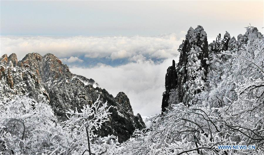 In pics: Snow-capped Huangshan Mountain