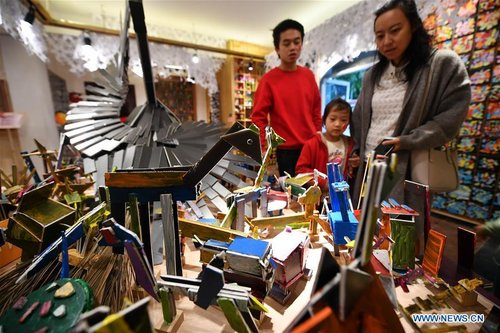 Exhibition Presenting Children's Artworks Made of Waste Materials Held in South China's Hainan