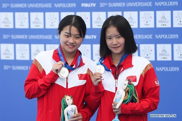 (SP)ITALY-NAPLES-SUMMER UNIVERSIADE-DIVING-WOMEN'S SYNCHRONISED 3M SPRINGBOARD-FINAL